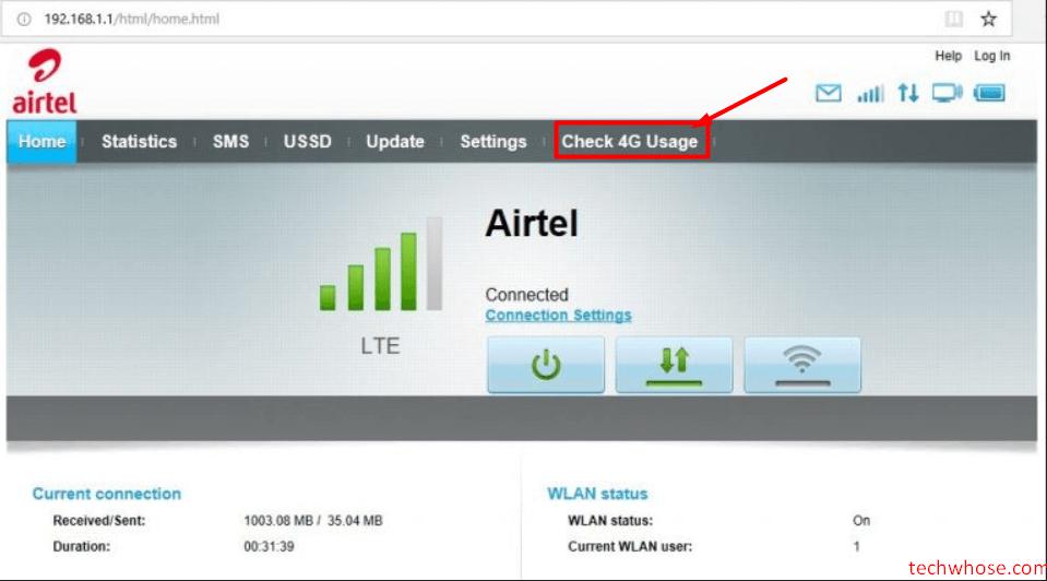 Check 4G data usage Airtel Hotspot