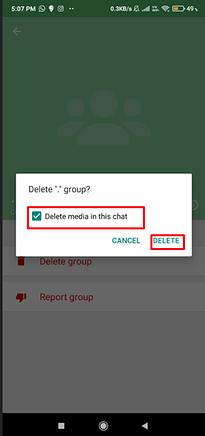 how to delete whatsapp group media