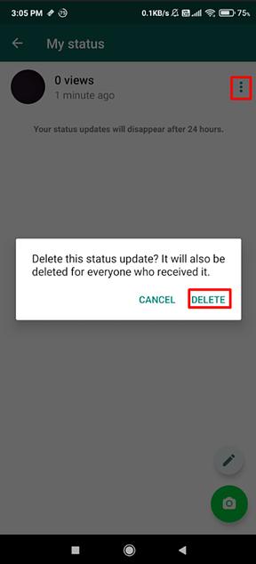 How to delete WhatsApp status